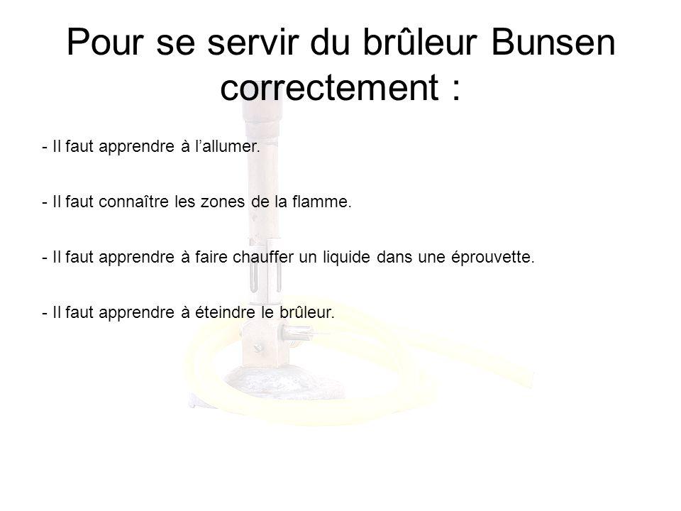 Pour se servir du brûleur Bunsen correctement : - Il faut apprendre à lallumer. - Il faut connaître les zones de la flamme. - Il faut apprendre à fair