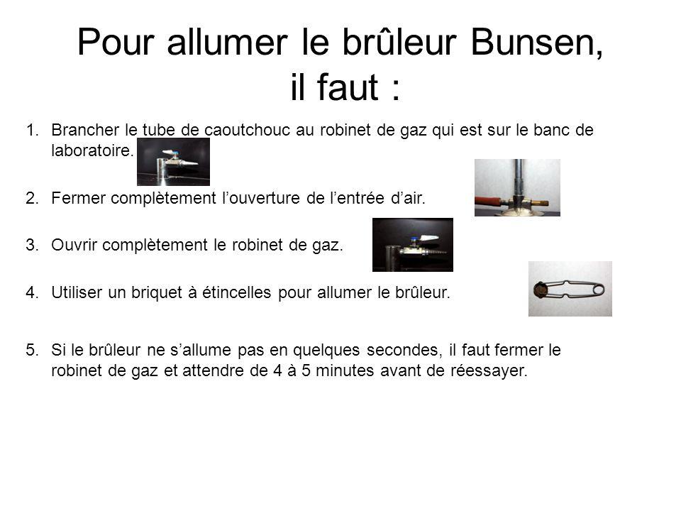 Pour allumer le brûleur Bunsen, il faut : 1.Brancher le tube de caoutchouc au robinet de gaz qui est sur le banc de laboratoire. 2.Fermer complètement