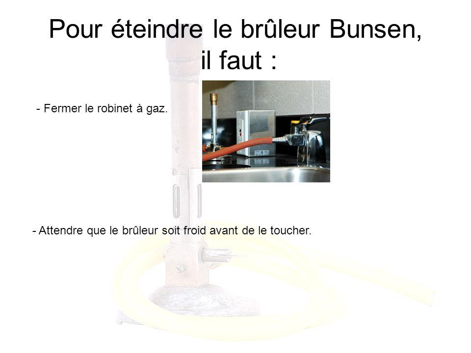 Pour éteindre le brûleur Bunsen, il faut : - Fermer le robinet à gaz. - Attendre que le brûleur soit froid avant de le toucher.