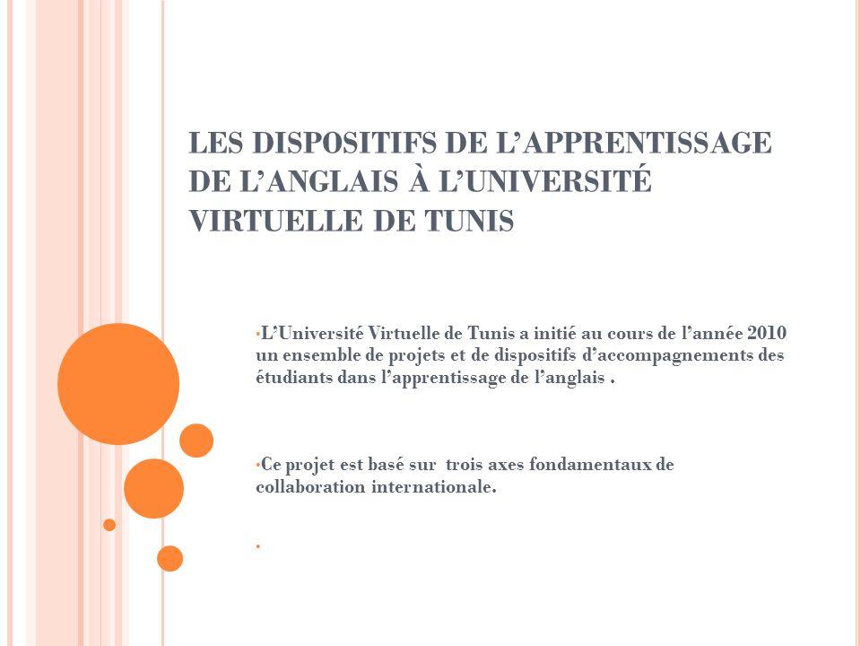 LES DISPOSITIFS DE LAPPRENTISSAGE DE LANGLAIS À LUNIVERSITÉ VIRTUELLE DE TUNIS LUniversité Virtuelle de Tunis a initié au cours de lannée 2010 un ense