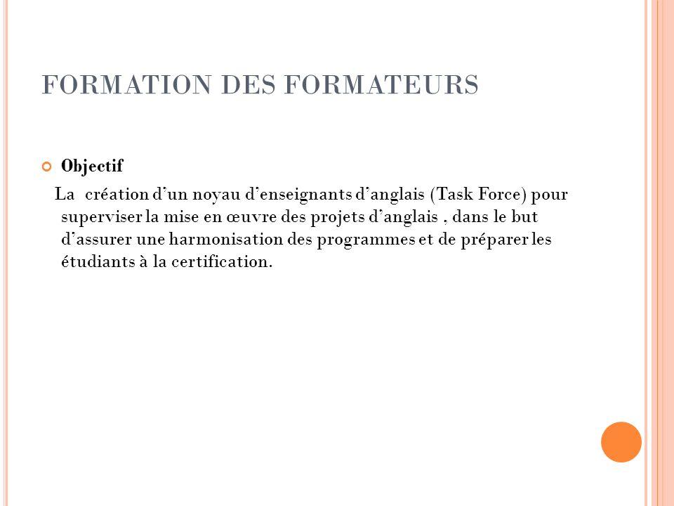 FORMATION DES FORMATEURS Objectif La création dun noyau denseignants danglais (Task Force) pour superviser la mise en œuvre des projets danglais, dans