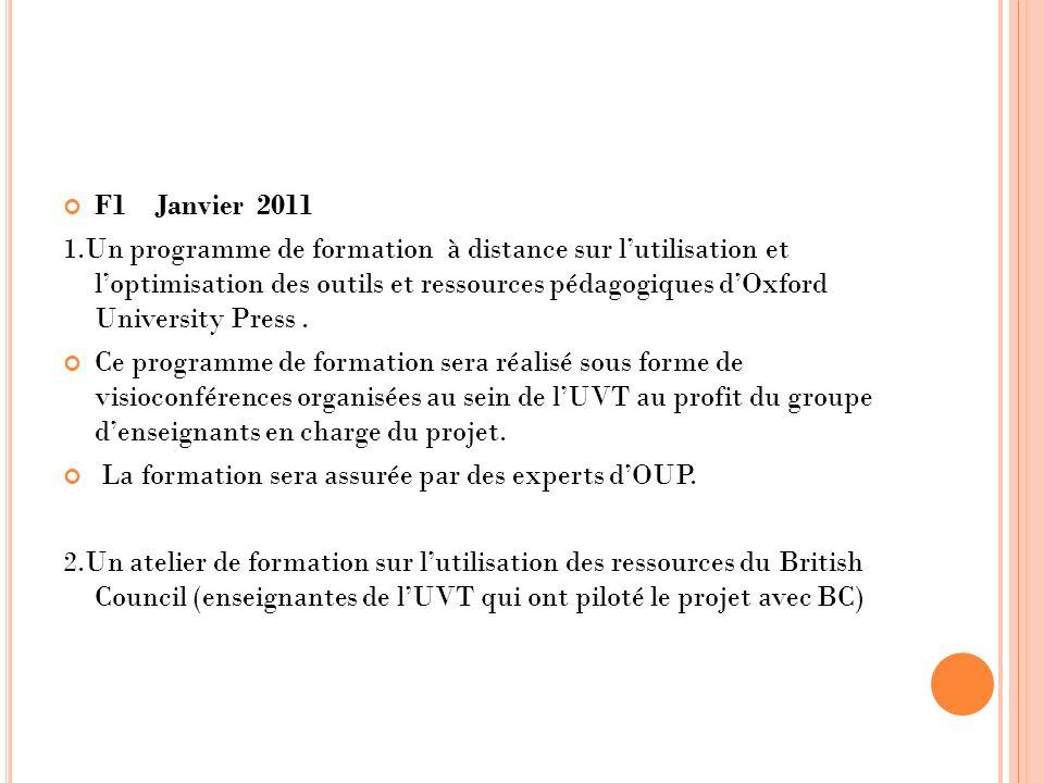 F1 Janvier 2011 1.Un programme de formation à distance sur lutilisation et loptimisation des outils et ressources pédagogiques dOxford University Pres