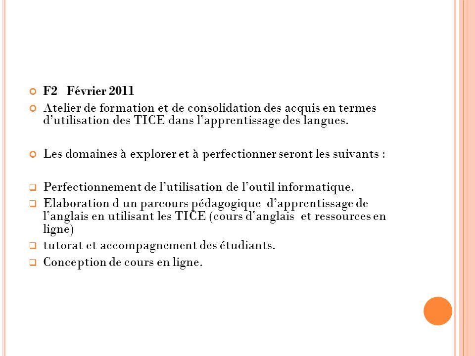 F2 Février 2011 Atelier de formation et de consolidation des acquis en termes dutilisation des TICE dans lapprentissage des langues. Les domaines à ex