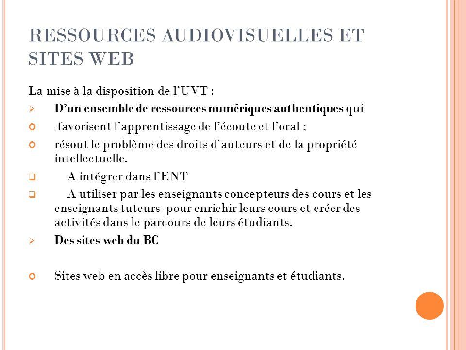 RESSOURCES AUDIOVISUELLES ET SITES WEB La mise à la disposition de lUVT : Dun ensemble de ressources numériques authentiques qui favorisent lapprentis