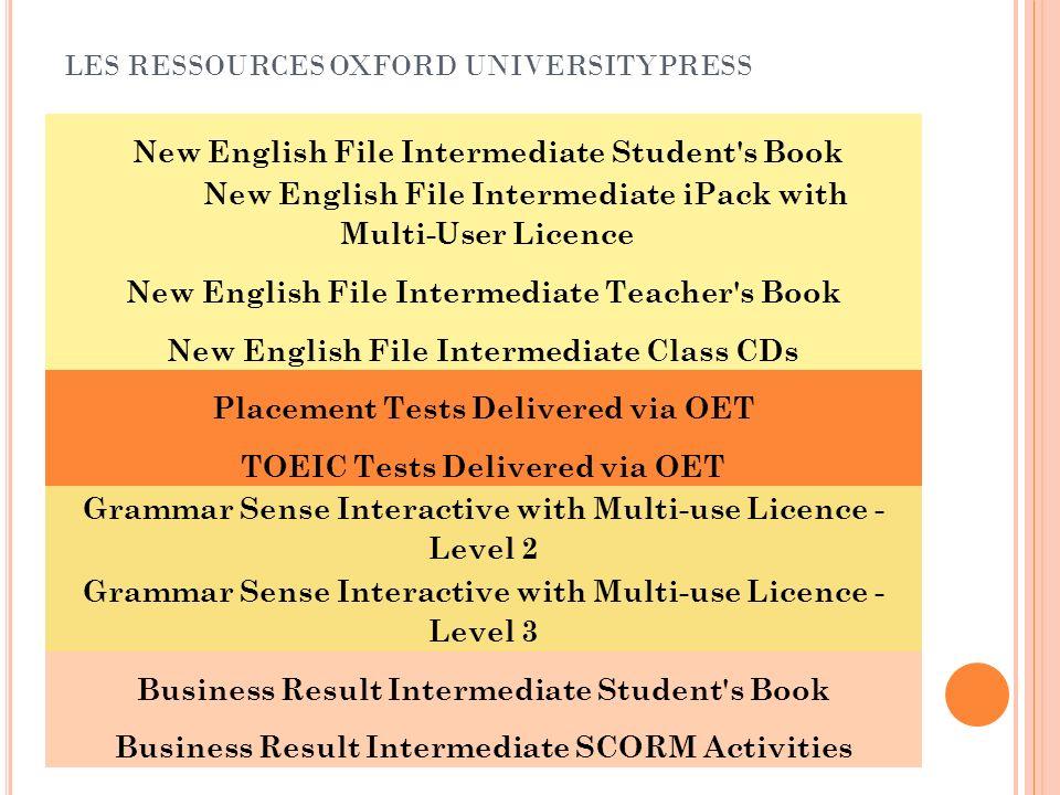 RESSOURCES OUP Anglais Général New English File Livres et CD avec support et activités en ligne: Outils et activités en ligne pour accompagner les leçons et activités des manuels.