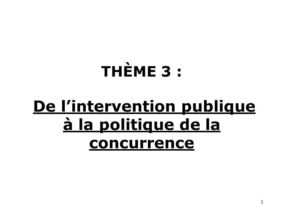 1 THÈME 3 : De lintervention publique à la politique de la concurrence