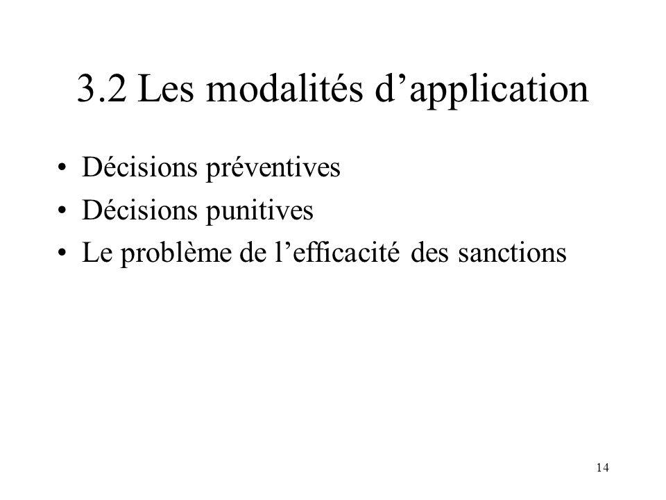 14 3.2 Les modalités dapplication Décisions préventives Décisions punitives Le problème de lefficacité des sanctions
