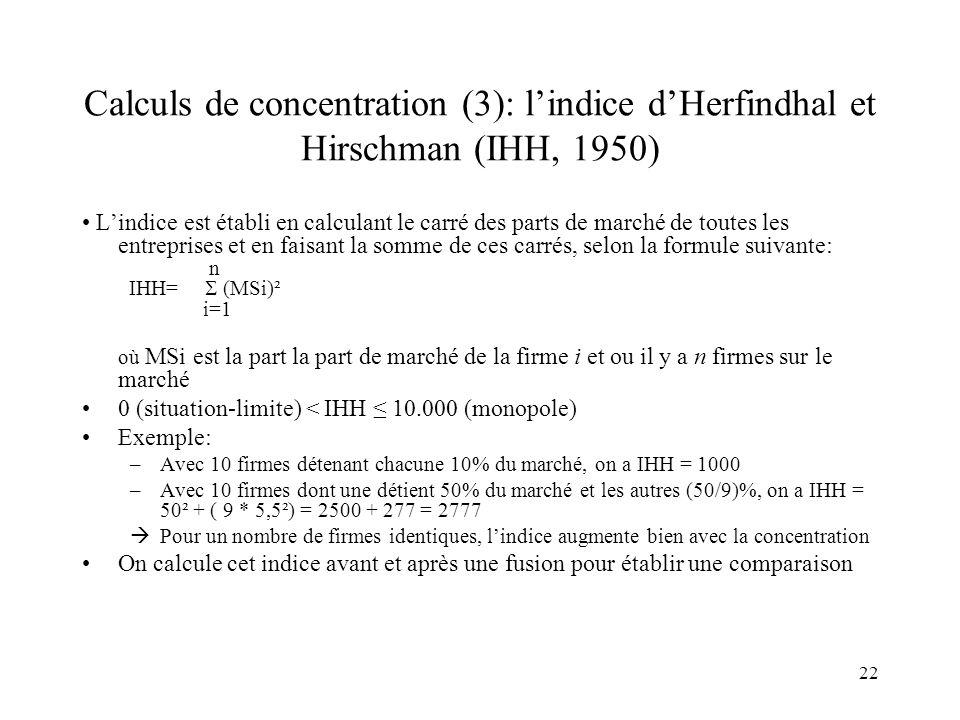 22 Calculs de concentration (3): lindice dHerfindhal et Hirschman (IHH, 1950) Lindice est établi en calculant le carré des parts de marché de toutes l