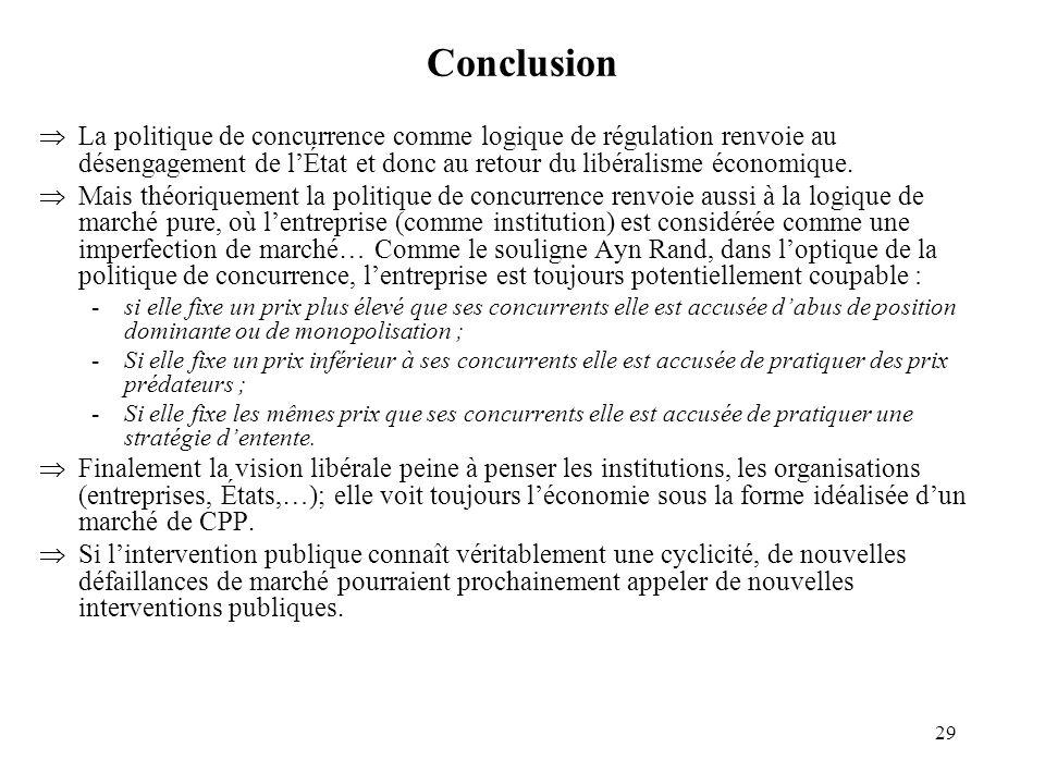 29 Conclusion La politique de concurrence comme logique de régulation renvoie au désengagement de lÉtat et donc au retour du libéralisme économique. M