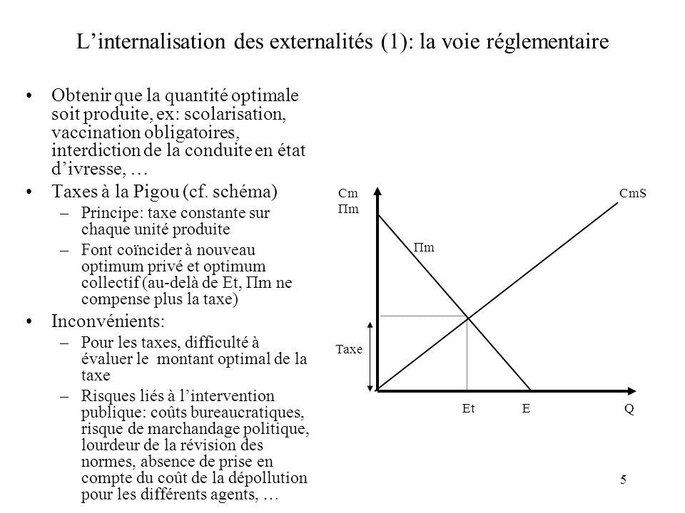 5 Linternalisation des externalités (1): la voie réglementaire Obtenir que la quantité optimale soit produite, ex: scolarisation, vaccination obligato