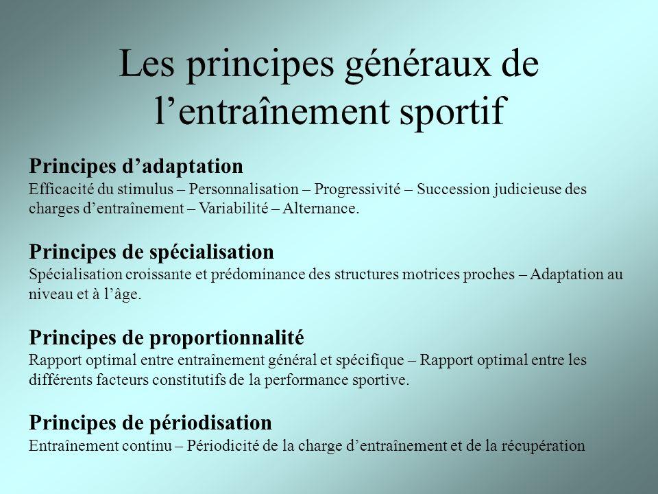 Les principes généraux de lentraînement sportif Principes dadaptation Efficacité du stimulus – Personnalisation – Progressivité – Succession judicieus