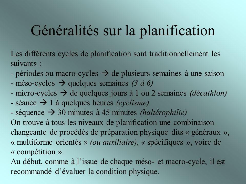 Généralités sur la planification Les différents cycles de planification sont traditionnellement les suivants : - périodes ou macro-cycles de plusieurs