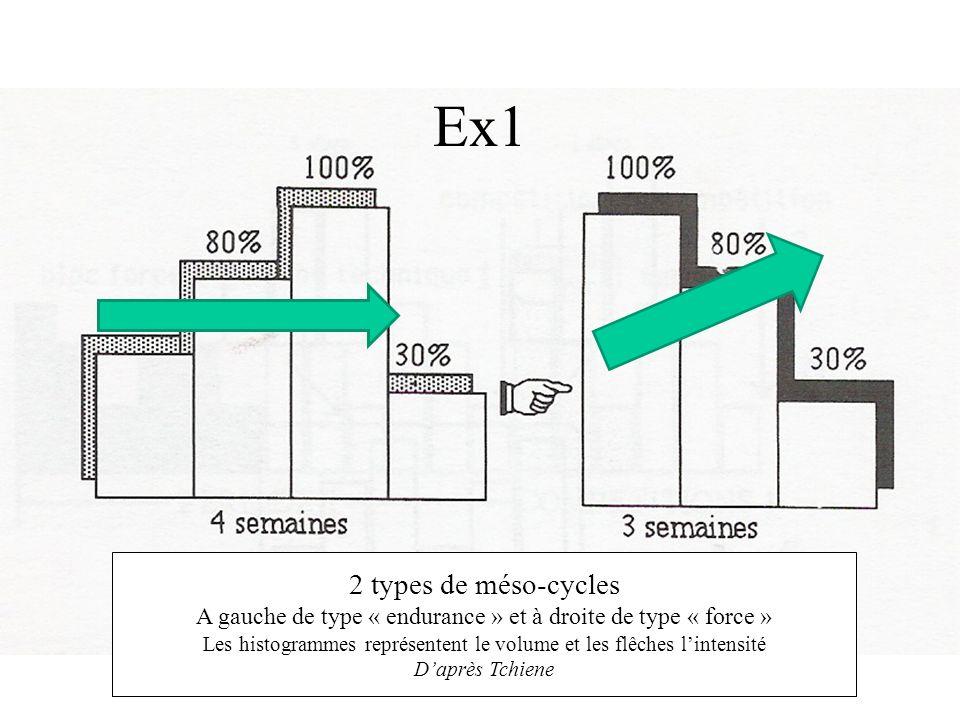 Ex1 2 types de méso-cycles A gauche de type « endurance » et à droite de type « force » Les histogrammes représentent le volume et les flêches lintens