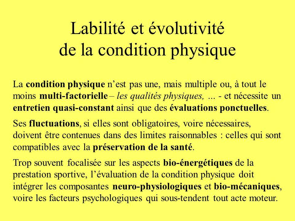 Labilité et évolutivité de la condition physique La condition physique nest pas une, mais multiple ou, à tout le moins multi-factorielle – les qualité