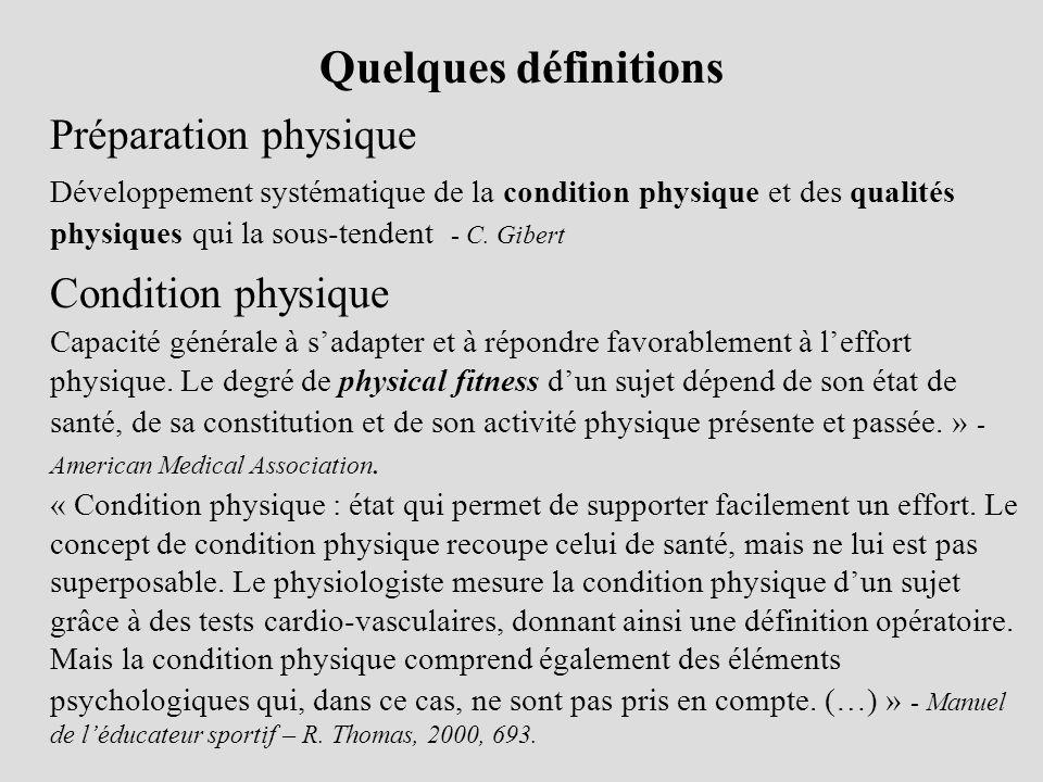 Quelques définitions Préparation physique Développement systématique de la condition physique et des qualités physiques qui la sous-tendent - C. Giber