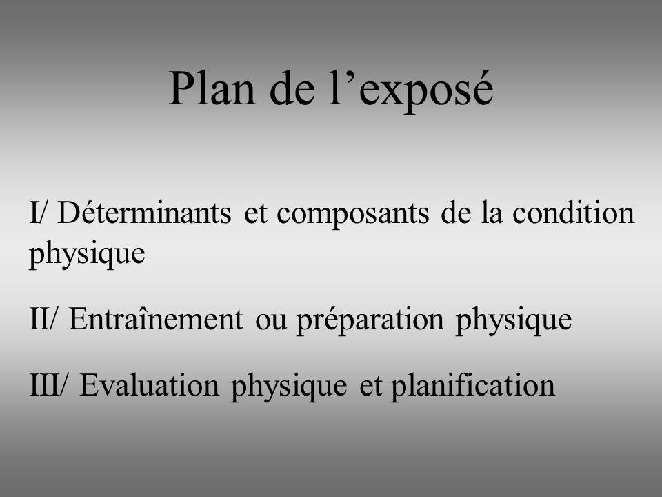 Plan de lexposé I/ Déterminants et composants de la condition physique II/ Entraînement ou préparation physique III/ Evaluation physique et planificat