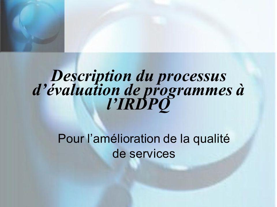 Description du processus dévaluation de programmes à lIRDPQ Pour lamélioration de la qualité de services
