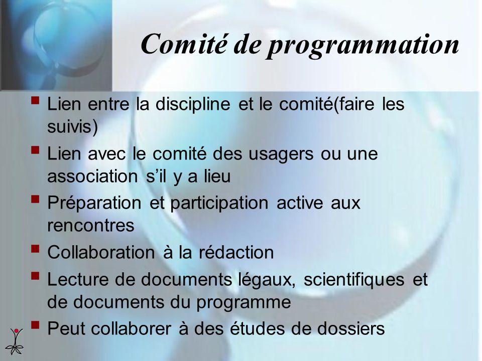 Comité de programmation Lien entre la discipline et le comité(faire les suivis) Lien avec le comité des usagers ou une association sil y a lieu Prépar