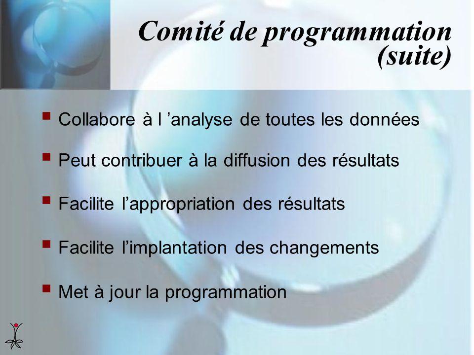 Comité de programmation (suite) Collabore à l analyse de toutes les données Peut contribuer à la diffusion des résultats Facilite lappropriation des r