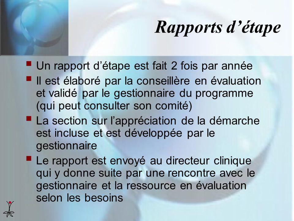 Rapports détape Un rapport détape est fait 2 fois par année Il est élaboré par la conseillère en évaluation et validé par le gestionnaire du programme