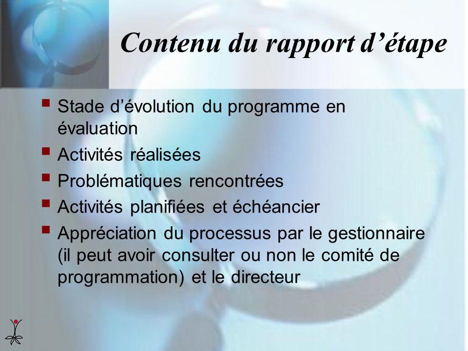 Contenu du rapport détape Stade dévolution du programme en évaluation Activités réalisées Problématiques rencontrées Activités planifiées et échéancie