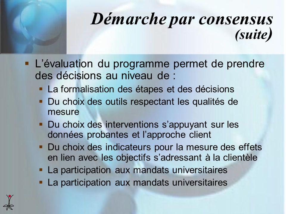 Démarche par consensus (suite ) Lévaluation du programme permet de prendre des décisions au niveau de : La formalisation des étapes et des décisions D