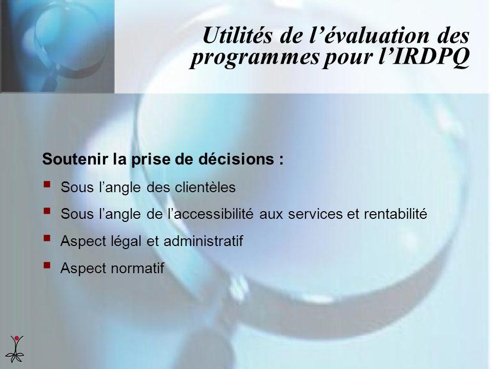 Utilités de lévaluation des programmes pour lIRDPQ Soutenir la prise de décisions : Sous langle des clientèles Sous langle de laccessibilité aux servi