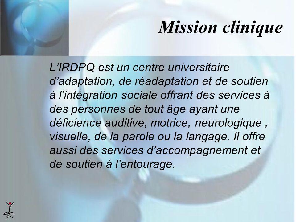 Mission clinique LIRDPQ est un centre universitaire dadaptation, de réadaptation et de soutien à lintégration sociale offrant des services à des perso