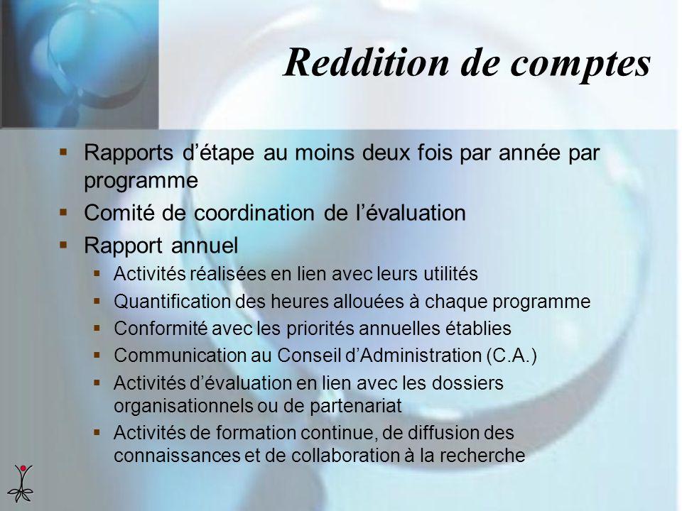 Reddition de comptes Rapports détape au moins deux fois par année par programme Comité de coordination de lévaluation Rapport annuel Activités réalisé