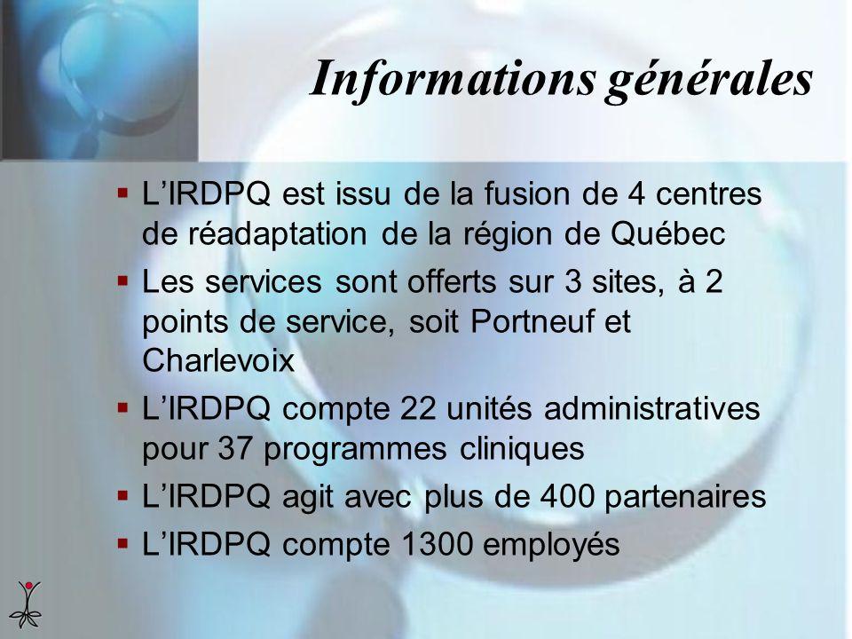 Informations générales LIRDPQ est issu de la fusion de 4 centres de réadaptation de la région de Québec Les services sont offerts sur 3 sites, à 2 poi