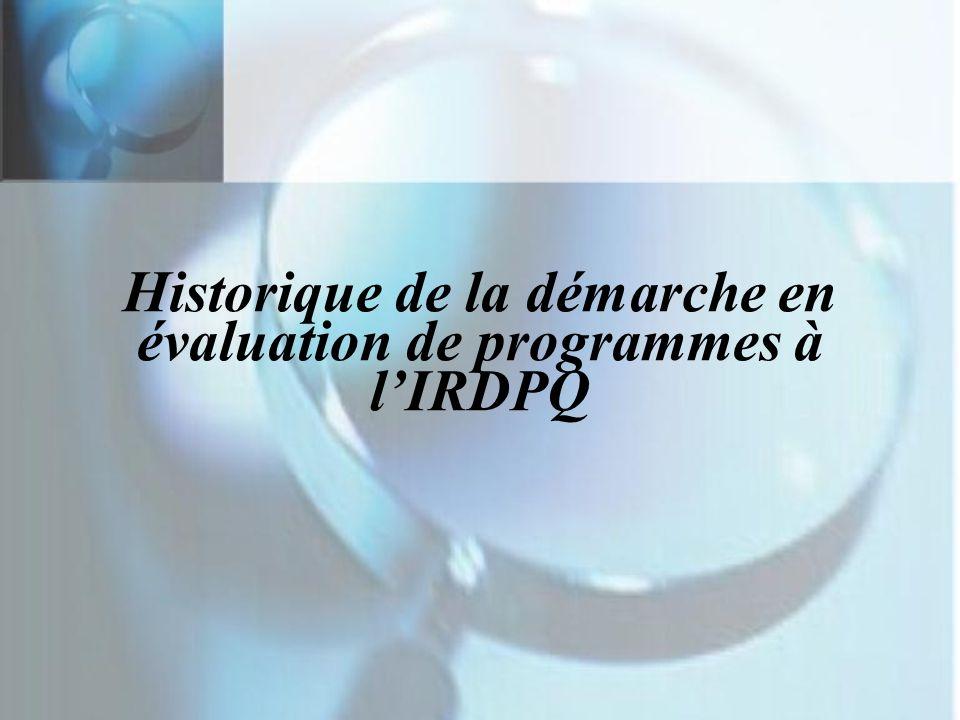Historique de la démarche en évaluation de programmes à lIRDPQ