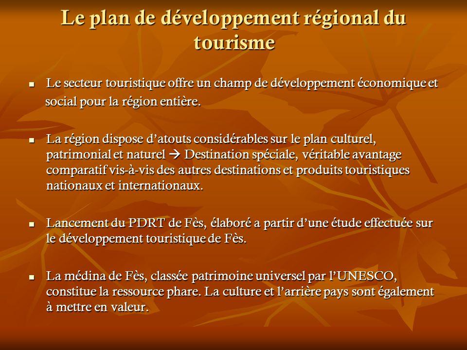 Le plan de développement régional du tourisme Le secteur touristique offre un champ de développement économique et Le secteur touristique offre un cha
