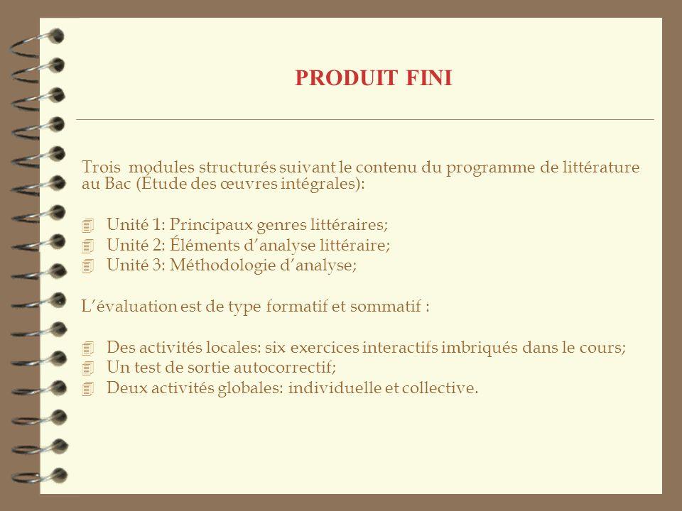 PRODUIT FINI Trois modules structurés suivant le contenu du programme de littérature au Bac (Étude des œuvres intégrales): 4 Unité 1: Principaux genre