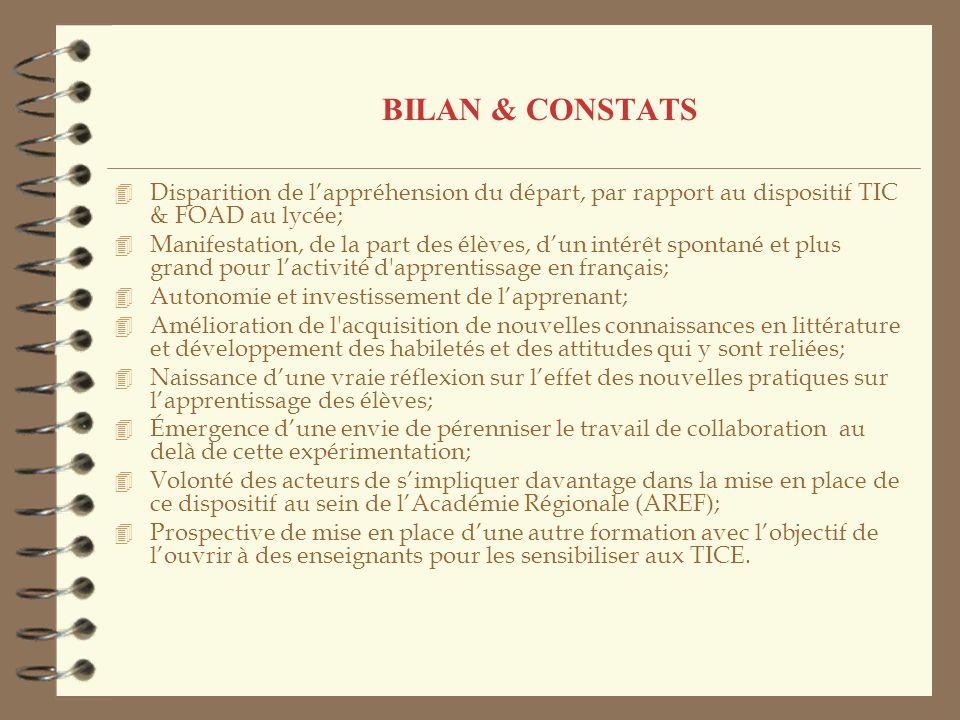 BILAN & CONSTATS 4 Disparition de lappréhension du départ, par rapport au dispositif TIC & FOAD au lycée; 4 Manifestation, de la part des élèves, dun