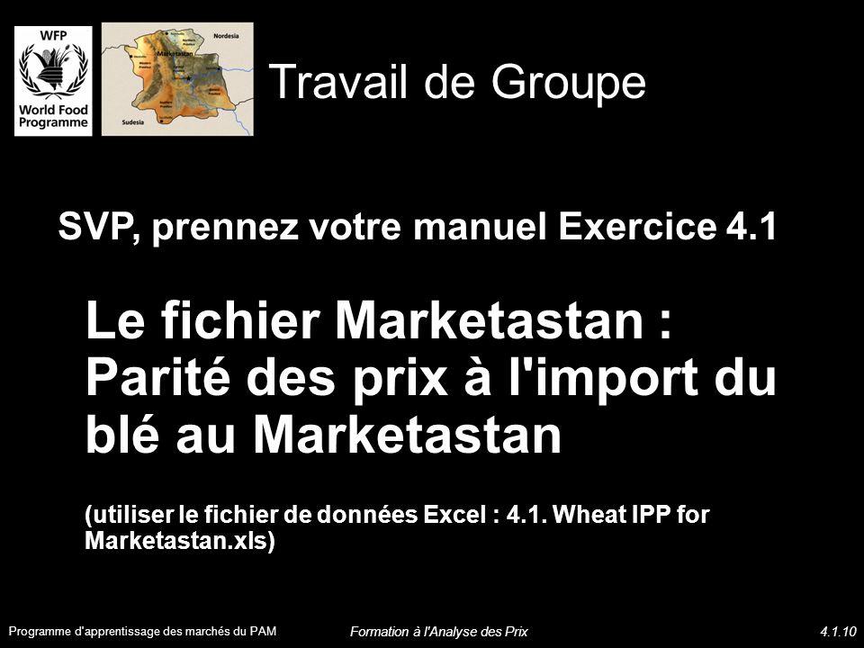 SVP, prennez votre manuel Exercice 4.1 Le fichier Marketastan : Parité des prix à l import du blé au Marketastan (utiliser le fichier de données Excel : 4.1.