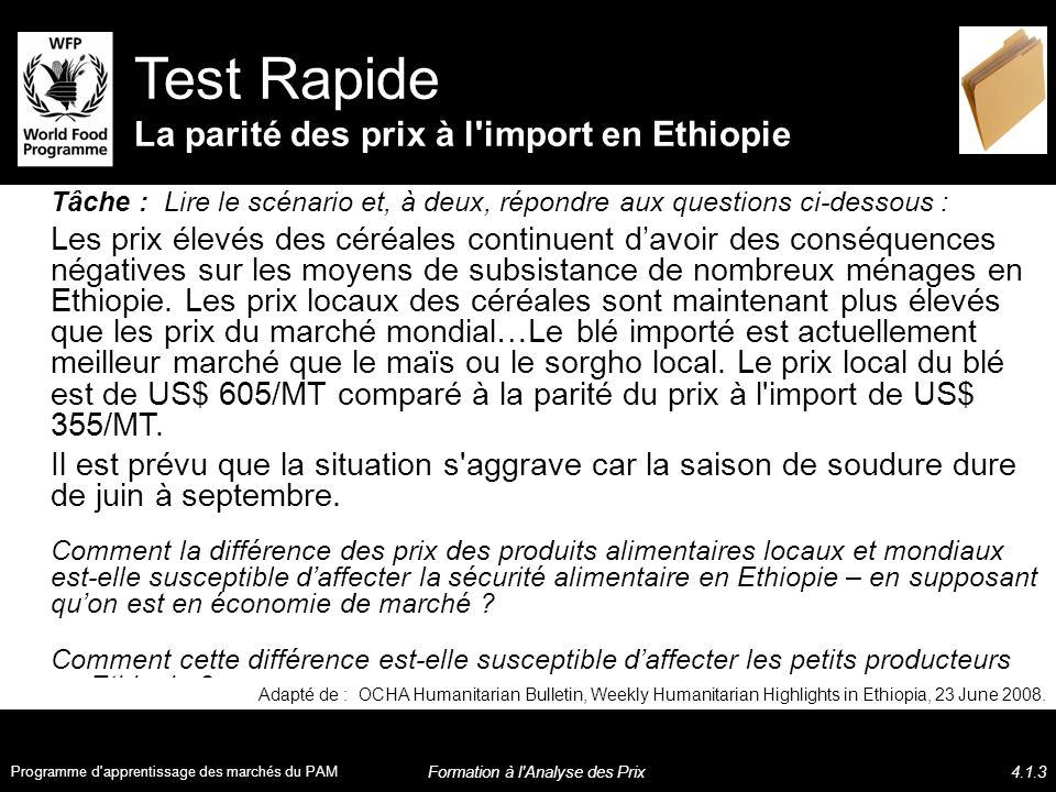 Tâche : Lire le scénario et, à deux, répondre aux questions ci-dessous : Les prix élevés des céréales continuent davoir des conséquences négatives sur les moyens de subsistance de nombreux ménages en Ethiopie.