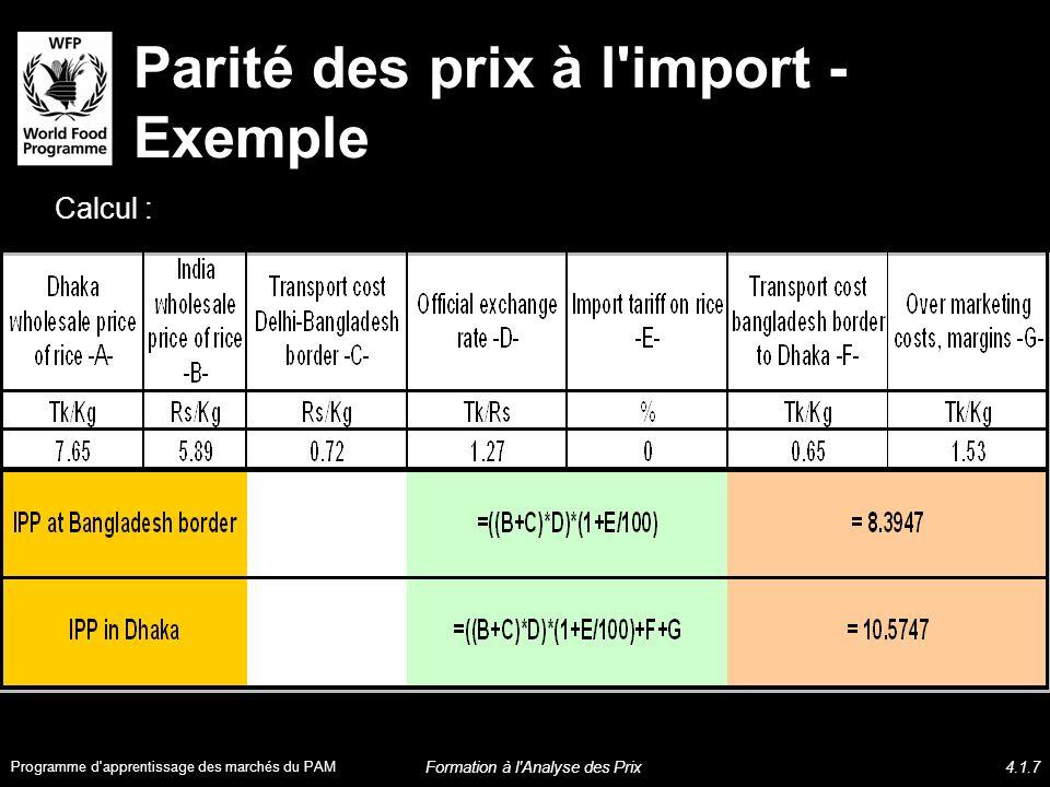 Parité des prix à l import - Exemple Lorsque la parité des prix à l import < prix de gros nationaux, les importations privées affluent à Dhaka Programme d apprentissage des marchés du PAM Formation à l Analyse des Prix4.1.8
