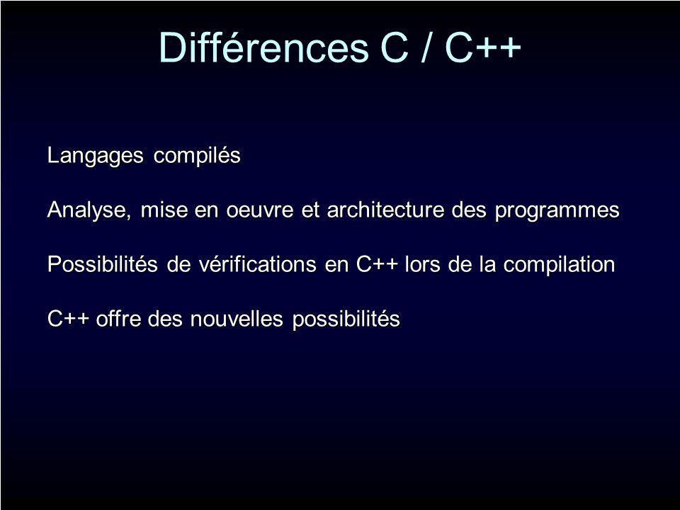Différences C / C++ Langages compilés Analyse, mise en oeuvre et architecture des programmes Possibilités de vérifications en C++ lors de la compilati