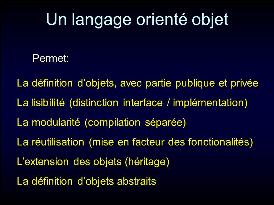 Un langage orienté objet Permet: La définition dobjets, avec partie publique et privée La modularité (compilation séparée) La réutilisation (mise en f
