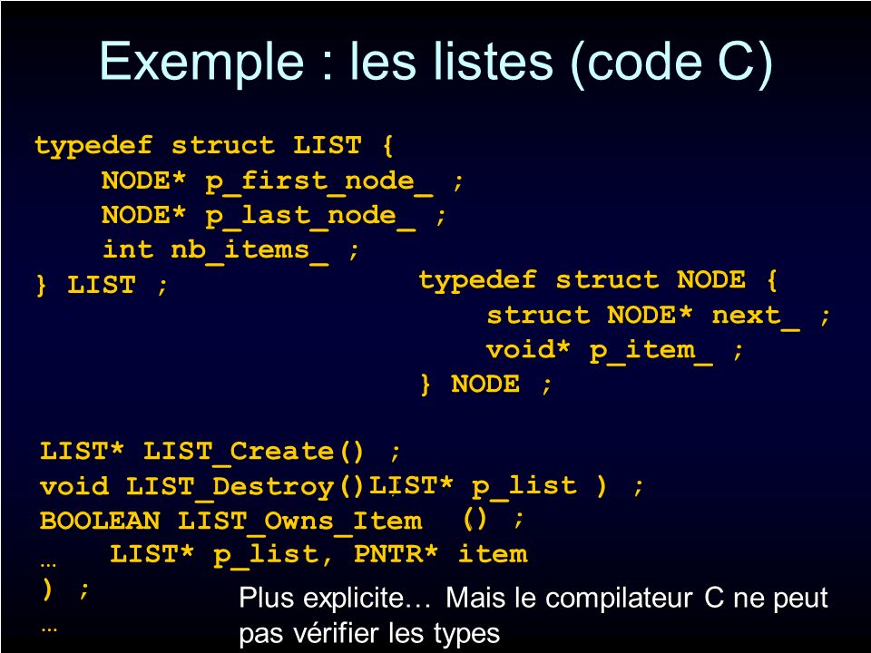 Exemple : les listes (code C) typedef struct LIST { NODE* p_first_node_ ; NODE* p_first_node_ ; NODE* p_last_node_ ; NODE* p_last_node_ ; int nb_items_ ; int nb_items_ ; } LIST ; LIST* LIST_Create() ; void LIST_Destroy BOOLEAN LIST_Owns_Item typedef struct NODE { struct NODE* next_ ; struct NODE* next_ ; void* p_item_ ; void* p_item_ ; } NODE ; … () ; ( LIST* p_list ) ; ( LIST* p_list, PNTR* item ) ; … Plus explicite… Mais le compilateur C ne peut pas vérifier les types