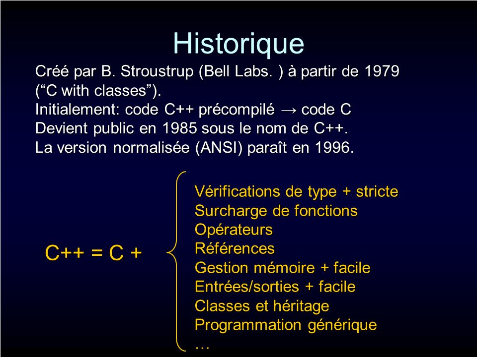 Historique Créé par B. Stroustrup (Bell Labs. ) à partir de 1979 (C with classes).