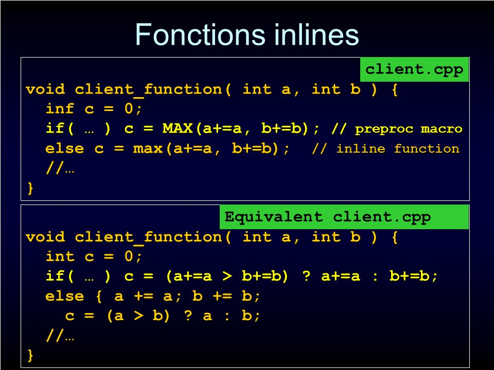 Fonctions inlines void client_function( int a, int b ) { inf c = 0; inf c = 0; if( … ) c = MAX(a+=a, b+=b); // preproc macro if( … ) c = MAX(a+=a, b+=b); // preproc macro else c = max(a+=a, b+=b); // inline function else c = max(a+=a, b+=b); // inline function //… //…} client.cpp void client_function( int a, int b ) { int c = 0; int c = 0; if( … ) c = (a+=a > b+=b) .