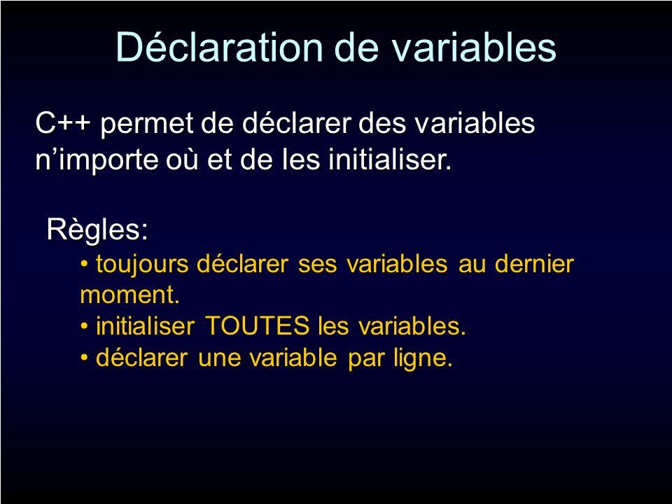 Déclaration de variables C++ permet de déclarer des variables nimporte où et de les initialiser. Règles: toujours déclarer ses variables au dernier mo