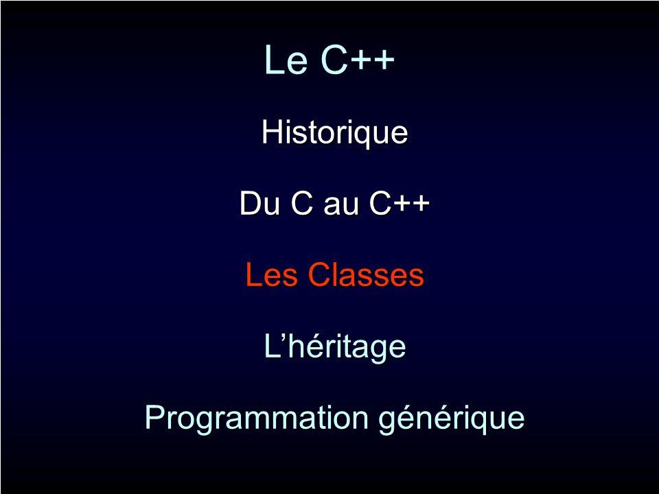 Le C++ Historique Du C au C++ Les Classes Lhéritage Programmation générique