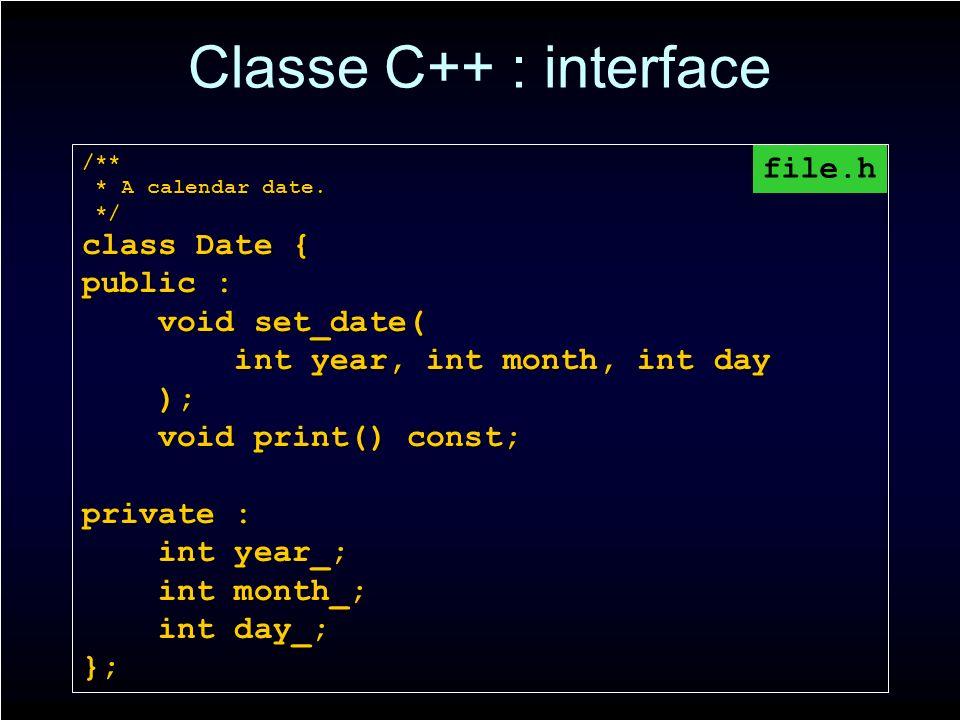 Classe C++ : interface /** * A calendar date. * A calendar date. */ */ class Date { public : void set_date( void set_date( int year, int month, int da