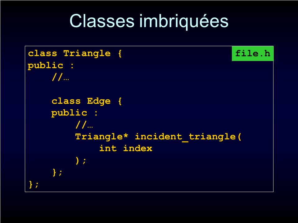 Classes imbriquées class Triangle { public : //… //… class Edge { class Edge { public : public : //… //… Triangle* incident_triangle( Triangle* incident_triangle( int index int index ); ); }; };}; file.h