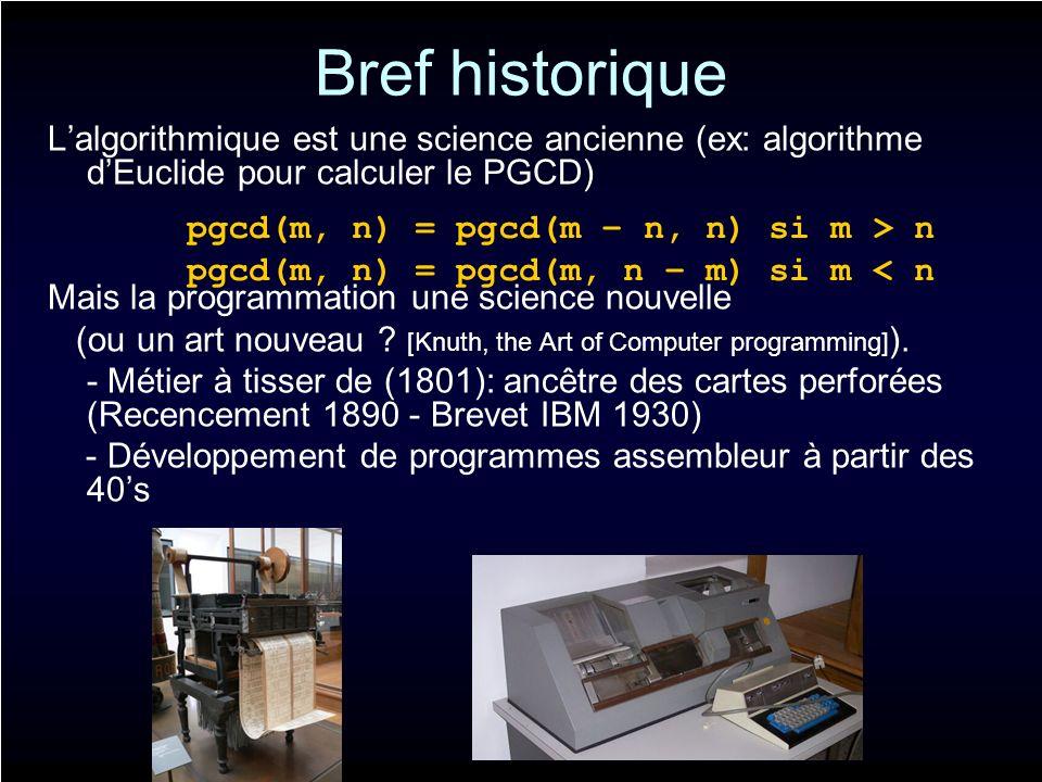 Bref historique Difficultés et erreurs Développement de langages pour rendre le codage plus intuitif: Fortran (1950), ALGOL Aujourdhui: - langages procéduraux (Pascal, C,…).