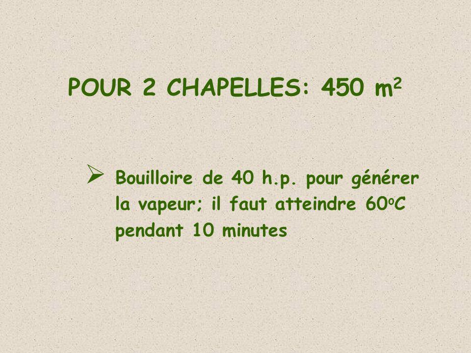 POUR 2 CHAPELLES: 450 m 2 Bouilloire de 40 h.p. pour générer la vapeur; il faut atteindre 60 o C pendant 10 minutes
