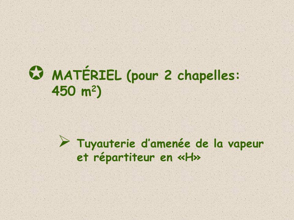 MATÉRIEL (pour 2 chapelles: 450 m 2 ) Tuyauterie damenée de la vapeur et répartiteur en «H»