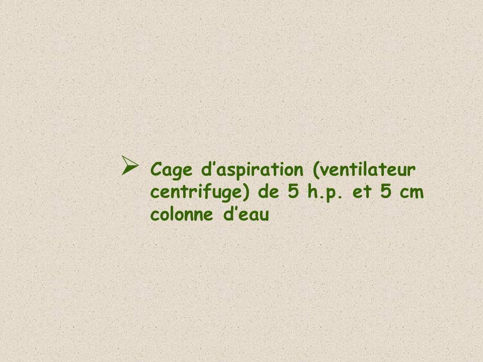 Cage daspiration (ventilateur centrifuge) de 5 h.p. et 5 cm colonne deau